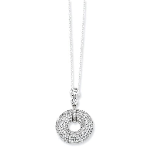 Jewelryweb Sterling Silver and CZ Round Polished Fancy Necklace - 18 Inch
