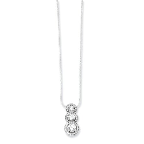 Jewelryweb Sterling Silver and CZ Polished Pendant