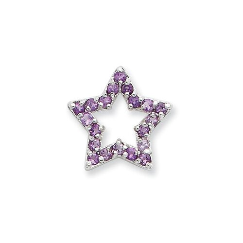 Jewelryweb Sterling Silver Lavender Gemstone Star Slide
