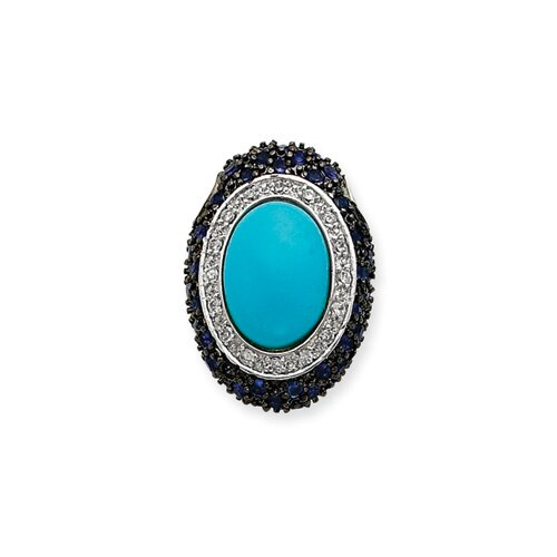 Jewelryweb Sterling Silver Turquoise and Blue CZ Slide