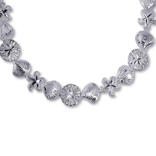 Jewelryweb Sterling Silver Seashore Necklace - 17 Inch