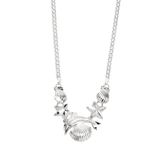 Jewelryweb Sterling Silver Rhodium Plated Sea-Life Necklace