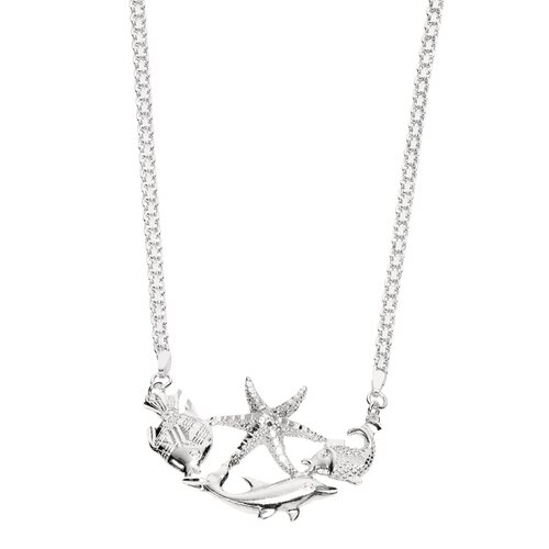 Jewelryweb Sterling Silver Rhodium Plated 16 InchSea-Life Necklace