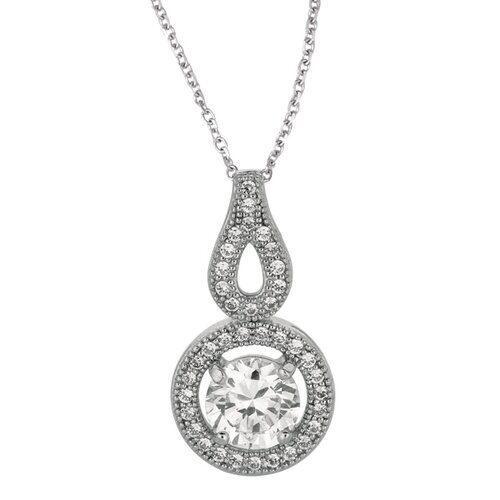 Jewelryweb Sterling Silver Rhodium Plated 18 InchCZ Necklace