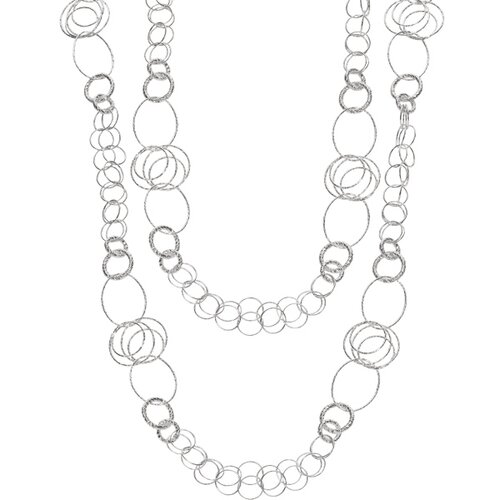 Jewelryweb Sterling Silver Rhodium Plated 36 InchLong Link Necklace