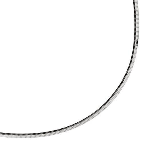 Sterling Silver Rhodium Plated 4mm Classic Omega Necklace Ch