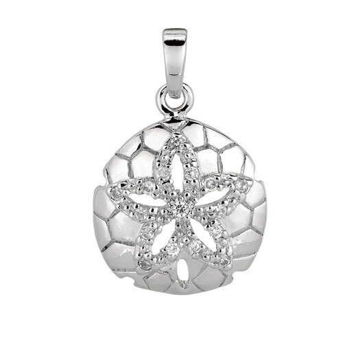Jewelryweb Sterling Silver Rhodium Plated CZ Dollar Pendant