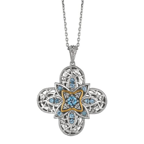 Jewelryweb Sterling Silver 14k Gold 4-leaf PendantWith Diamond + Colo - 18 Inch
