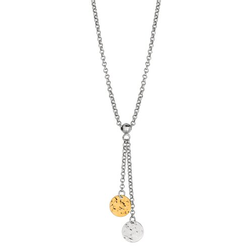 Jewelryweb Sterling Silver 14k Gold Hammered Circle Necklace - 17 Inch