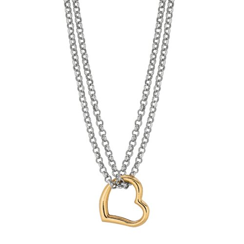 Jewelryweb Sterling Silver 14k Gold Open Heart Necklace - 18 Inch