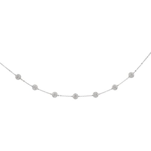 14k White Gold 7-stationed Round Clear Crystal Necklace - 18 Inch