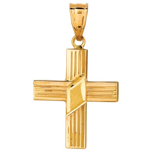 Jewelryweb 14k Gold Yellow Diamond-cut Sat Pol Small Cross Pendant