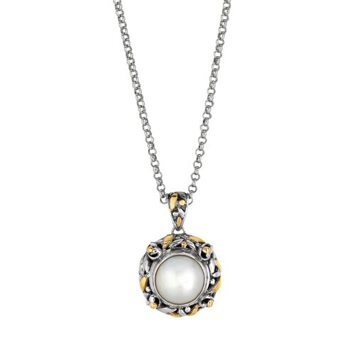 Jewelryweb Sterling Silver 18k Gold Designer Pendant With Cultured Pearl - 18 Inch