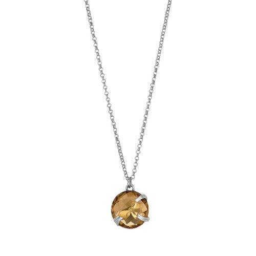 Sterling Silver 18k Gold Fancy Designer Necklace - 17 Inch