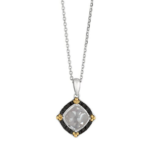 Sterling Silver 18k Gold Ruthenium Rhodium Plated Pendant - 18 Inch