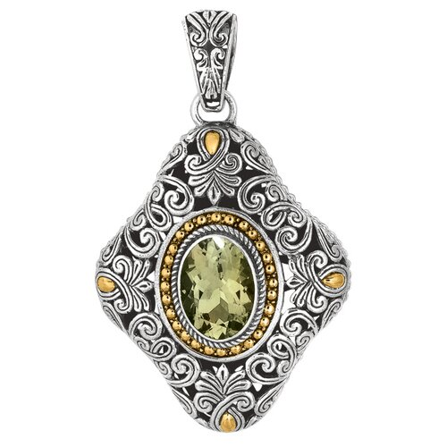 Jewelryweb Sterling Silver 18k Gold Yellow Oxidized Balinese Collection Pendant