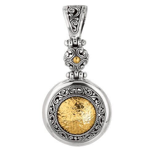 Sterling Silver 18k Gold Yellow Oxidized Balinese Collection Pendant
