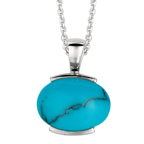 Jewelryweb Sterling Silver and Gems Rhodium Plated PendantSynthetic Bl Turquoise - 18 Inch