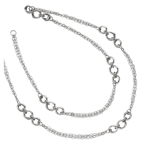 Jewelryweb Sterling Silver Rhodium Plated Triple Strand Fancy Necklace - 30 Inch