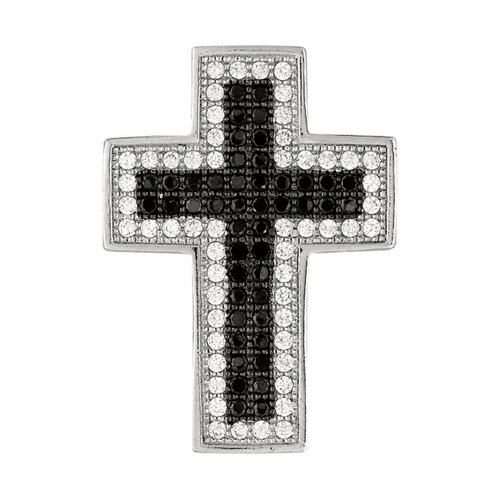 Jewelryweb Sterling Silver CZ Rhodium Plated Crystal Studded Cross Pendant