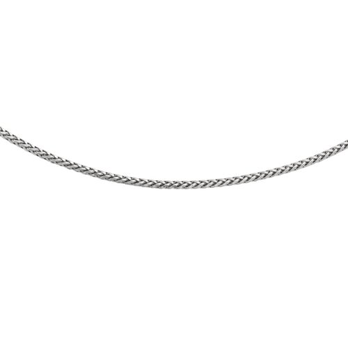 Jewelryweb Sterling Silver Mens 2.25mm Rhodium Plated Concave Square Necklace