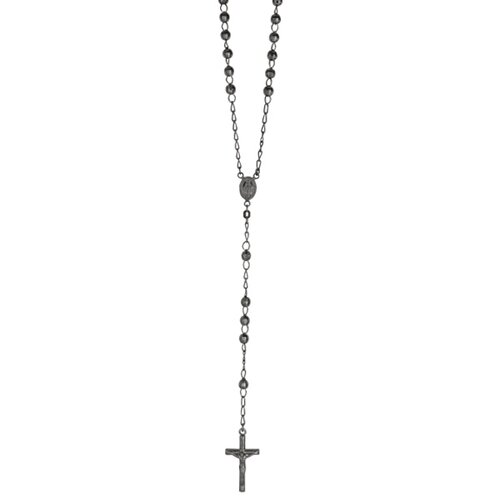 Sterling Silver Rhodium 5mmRuthenium Plated Fancy Diamond-cut Rosary Necklace - 26 Inch