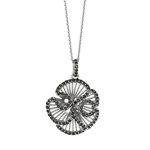 Jewelryweb Sterling Silver CZ Rhodium Plated Flower PendantWith Black - 18 Inch