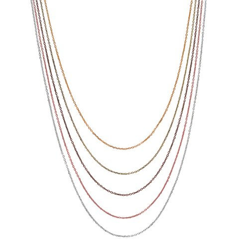 Sterling Silver Color Rhod/ Rose Gold Plated Gold Plated Gr Brwon 5-str Necklace - 17 ...