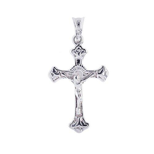 Jewelryweb Sterling Silver Rhodium Plated Cross Pendant