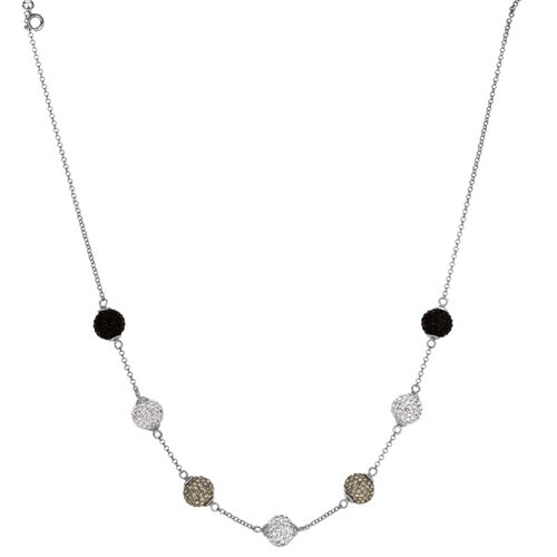 Jewelryweb Sterling Silver Rhodium Plated 3-4mmWhite Crystal 2-4mmBlack Necklace - 17 Inch