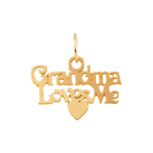 14k Child Grandma Loves Me Pendant15 In Chain 9.25x15mm
