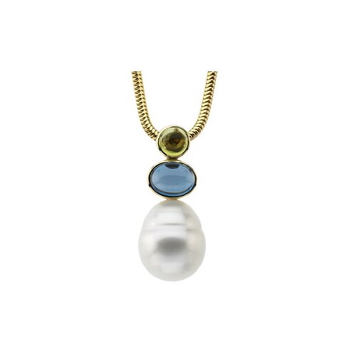 14k S. Sea Cultured Pearl Per. Blue Topaz Pendant