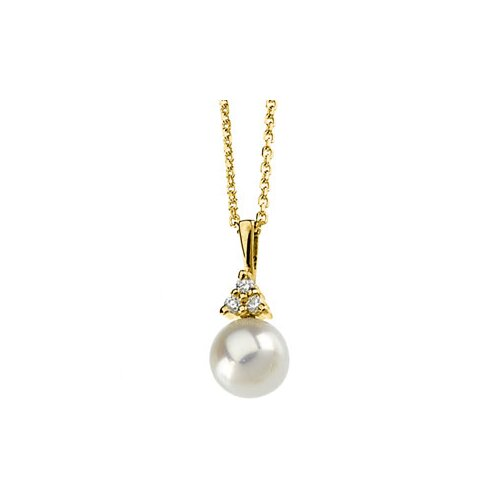 14k Gold Cultured Pearl Asmb PendantOn Cable Chain 7mmPearl
