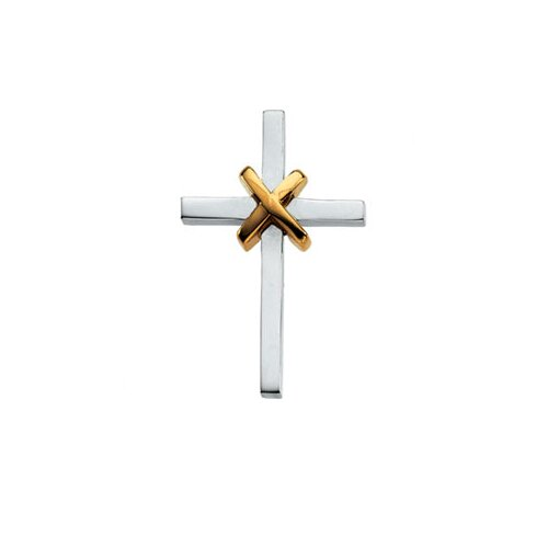 Jewelryweb Sterling Silver Two-Tone Cross Pendant