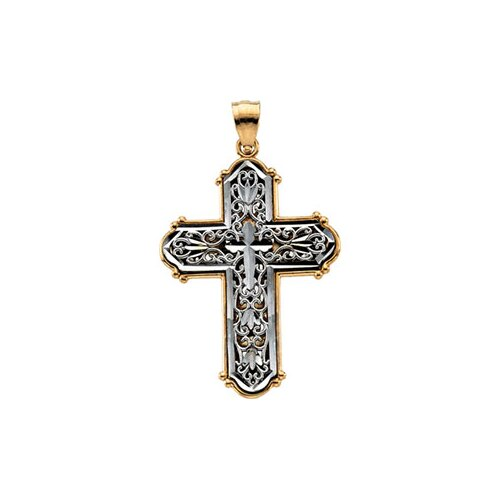 Jewelryweb 14k Two-Tone Cross Pendant33.75x23