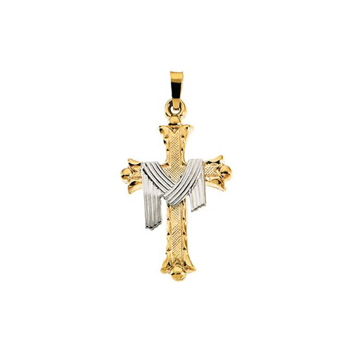 14k Two-Tone Cross PendantWith Robe 25.5x18mm