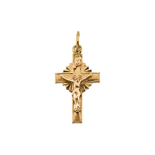 Jewelryweb 14k Yellow Gold Crucifix Pendant15x10mm