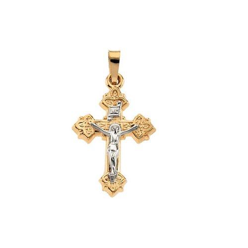 Jewelryweb 14k Two-Tone Crucifix Pendant27.5x20.5mm