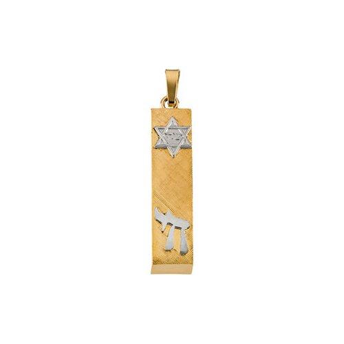 Jewelryweb 14k Two-Tone Mezuzah Pendant28x6mm