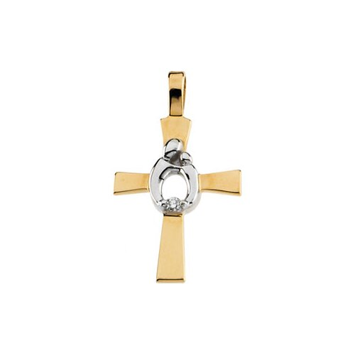 14k Two-Tone Mother And Child Cross Pendant16.5x12.50
