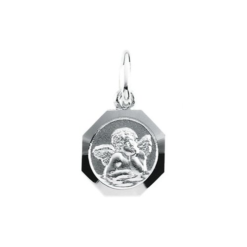 Jewelryweb 14k White Gold Angel Pendant8mm