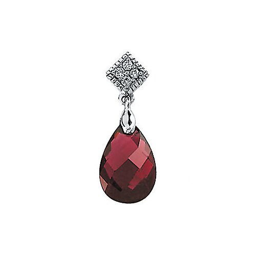 14k White Gold Brazilian Garnet Diamond Pendant12x8/.04ct