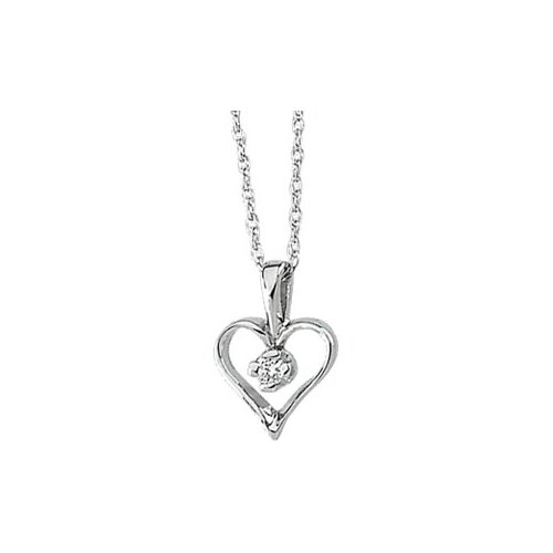 Jewelryweb 14k White Gold Diamond Heart PendantWith Chain .03ct