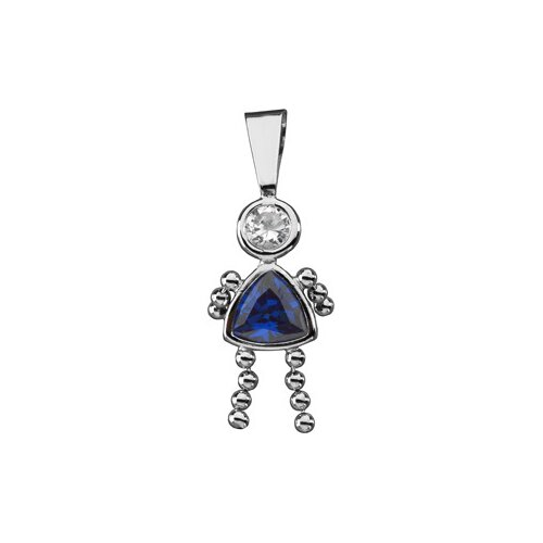14k White Gold Girl PendantCZ Trillion Imitation September