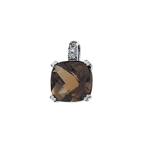 Jewelryweb 14k White Gold Smoky Quartz And Diamond Pendant.03ct