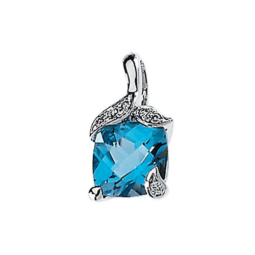 14k White Gold Swiss Blue Topaz Pendant.04ct 8x8