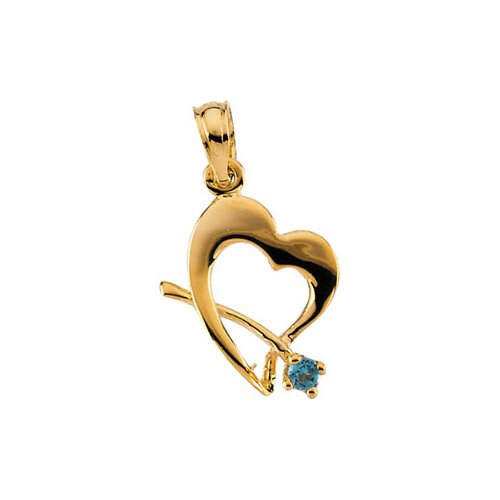 Jewelryweb 14k Yellow Gold Childrens May Birthstone Pendant11x11.5mm