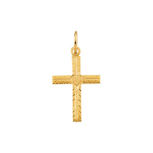 Jewelryweb 14k Yellow Gold Childs Cross PendantWith Heart 13x10mm