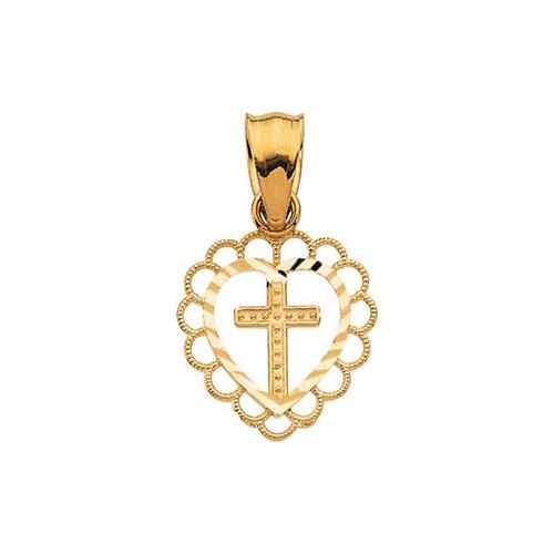 14k Yellow Gold Cross Heart Pendant16.25x1mm
