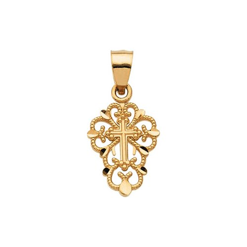 Jewelryweb 14k Yellow Gold Cross Pendant12.25x1mm